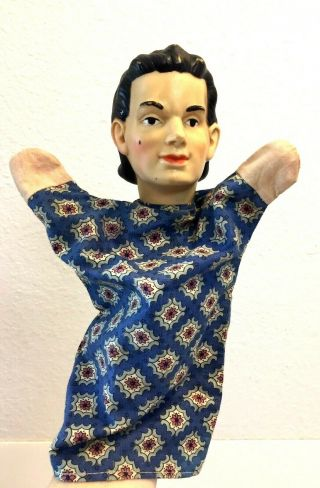 Vintage Hand Puppet Custom Made Doll Rubber/vinyl Head/textile Shirt And Hands