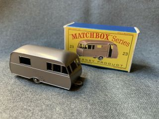 Vintage Matchbox Lesney No.  23c Bluebird Dauphine Caravan Trailer Box