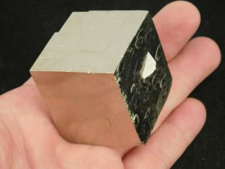 A Big And 100 Natural Cubic Pyrite Crystal Cube From Spain 317gr