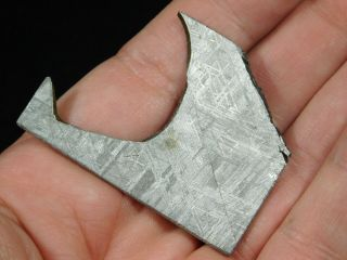 A Neat Shape On This Etched Muonionalusta Meteorite Found In Sweden 16.  9gr