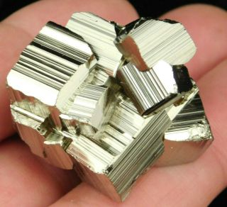 A Small And 100 Natural Pyrite Crystal Cube Cluster From Peru 72.  1gr