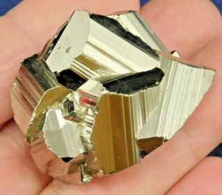A Small And 100 Natural Rhombic Pyrite Crystal Cluster From Peru 69.  9gr