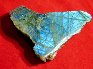 A Bright Blue Flash On This Cut And Polished Labradorite Pebble 96.  8gr
