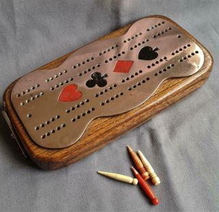 Antique / Vintage Copper On Oak Wooden Cribbage Crib Board Defined Suits & Pegs