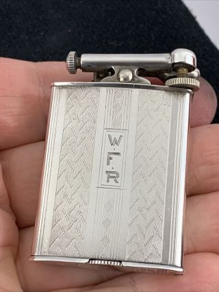 Vintage Sterling Silver Clark Lift Arm Pocket Lighter Engine Turned Design