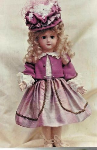 """11 - 12 """" (or) 15 - 16 """" (or) 17 - 18 """" Antique French German Doll Dress Jacket Hat Pattern"""