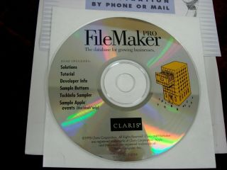 Claris Filemaker Pro 3 Cd With License,  For Vintage Windows & Macintosh