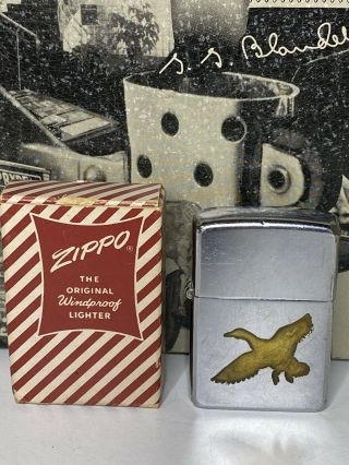 1950s Zippo Town And Country Lighter Duck Mallard Pat: 2032695 Candy Cane Box