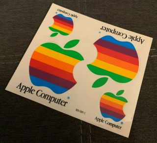 Vintage Apple Macintosh Mac Computer Rainbow Stickers Decals X4