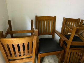 Stickley Mission Oak Dining Room Chairs,  Four Side Chairs,  Two End Chairs