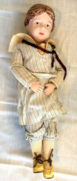 Antique Wood Spring Jointed Schoenhut Girl Doll,  Sailor Outfit - 16 Inches