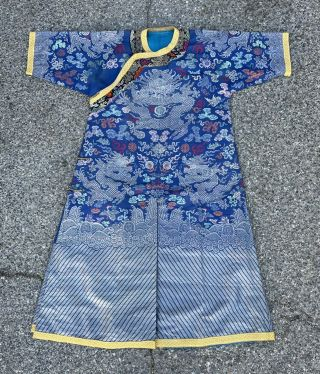 Antique Chinese Silk Blue Dragon Robe 9 Dragons 5 Claws