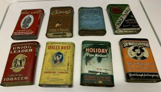 8 Vintage Small Pipe Tobacco Tins Dill