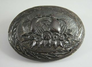 Good Antique Early 19th C French Sailor / Pow Carved Coconut Snuff Box Nr