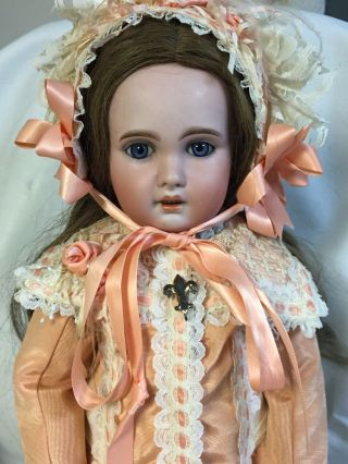 """Antique 21"""" French Bisque Tete Jumeau Doll Incised 1907"""