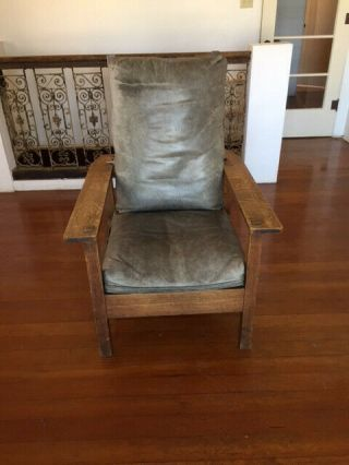 Antique And Signed L & Jg Stickley Reclining Morris Chair.