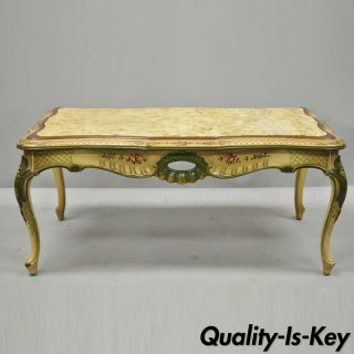 Vintage Italian Venetian Style Hand Painted Floral Green Marble Top Coffee Table