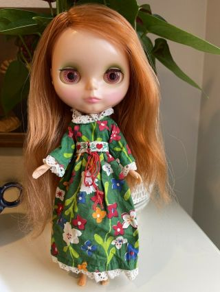 Vintage Kenner Blythe Doll W/stand 1972 Side Part Redhead -
