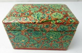 Vintage French Russian Lacquer Wood Hand Painted Floral Décor Box
