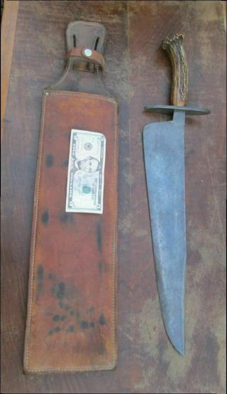 "Huge 25 "" Antique Custom Hand - Forged Bowie Knife Sword W/stag & 3 Hearts W/h Logo"