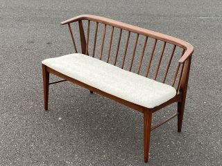 Mid Century Modern Settee Bench Wood Spindle Curved Back