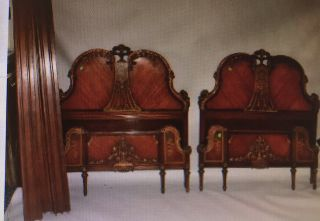 Vintage Italian French Twin Size Beds Frames Paintings Headboards Footboards