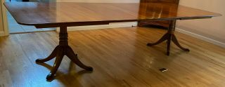 Leopold Stickley 1956 Cherry Double Pedestal Dining Room Table With 4 Leaves