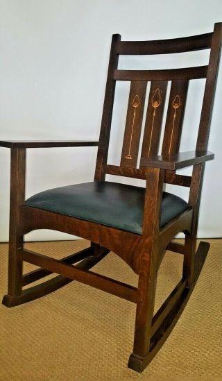 Gorgeous Stickley Mission Harvey Ellis Inlay Rocker Will Work With Shipper
