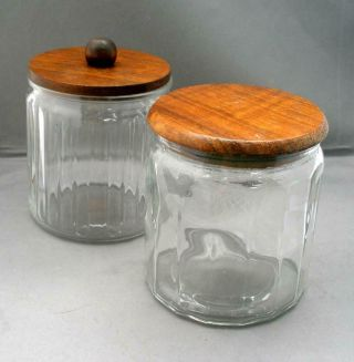 Vintage Pair 1960s Walnut Wood Lidded Tobacco Clear Glass Humidors Canisters