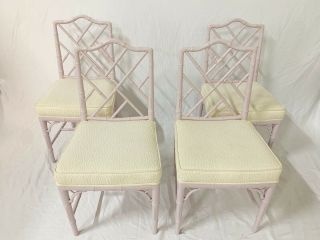 Chinese Chippendale Faux Bamboo Dining Chairs - Set Of 4