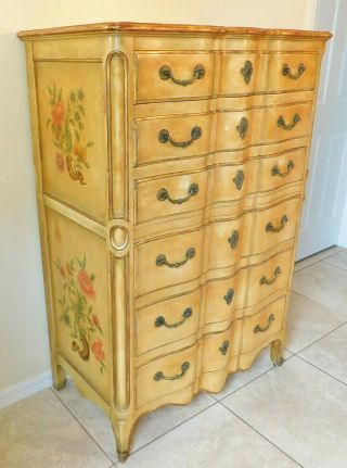John Widdicomb Painted French Louis Xv Style Gold Tall Dresser Chest Of Drawers