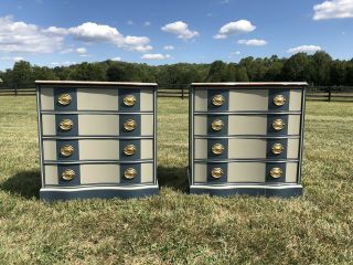 Painted Vintage Embossed Leather - Top Mahogany Serpentine Front Dressers