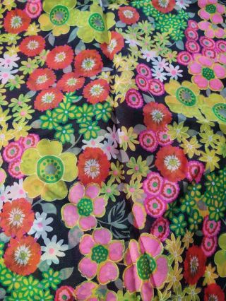 """Vintage Fabric Sheer Nylon Bright Flower Power Print 43 """" W By 2 Yds 6 """" Floral"""