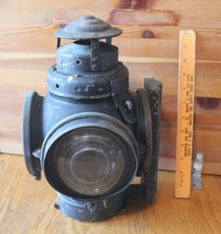 Antique Armspear Mfg Co NY Railroad Lantern Vintage Oil lamp Switch Train mount 3