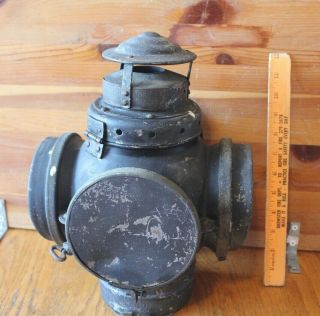 Antique Armspear Mfg Co NY Railroad Lantern Vintage Oil lamp Switch Train mount 4