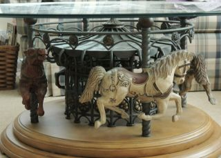 Carousel Rotating Glass Top Coffee Table With 4 Vintage Horses In Very Good Cond
