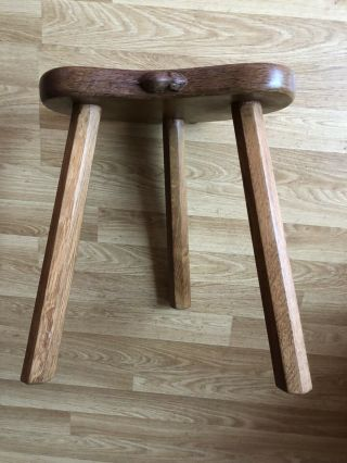 Robert Thompson Mouseman Three Legged Oak Milking Calf Stool