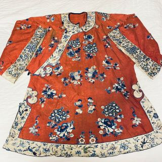 Antique Embroidered Red Silk Chinese Robe Birds Flowers