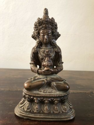 A Chinese Tibetan Bronze Figure Of Buddha - Qing - Like Indian,  Imperial,  Ming