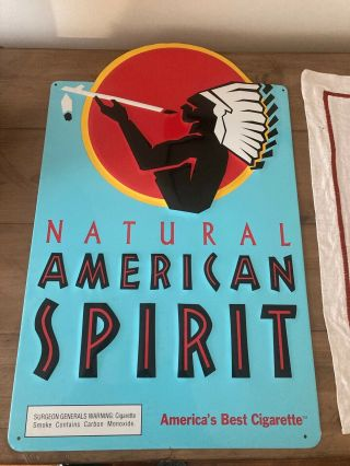 Vintage Tin Metal American Spirit Tobacco Cigarette Sign