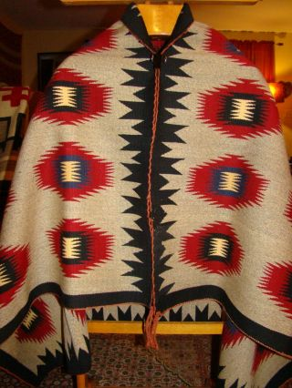 Antique Navajo Blanket Native American Rug With Blue Red White Dazzler