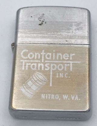 Vintage Zippo 2517191 1960's Lighter Case Only Stamped Container Transport Inc