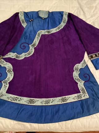 Antique Chinese Qing Dynasty Embroidered Silk Robe Blue Purple - 1920