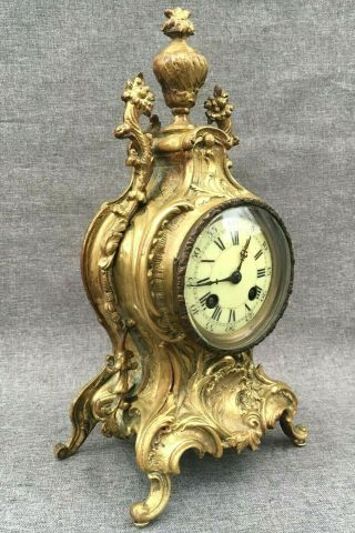 Heavy Antique French 19th Century Clock Bronze Louis Xv Rocaille Style