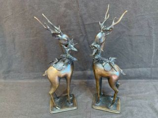 """Antique Chinese Qing Pair Bronze Fangshui Sika Deer Incense Burners Censers 13"""""""