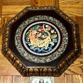 Antique Chinese Embroidered Silk Dragon Robe Remnant Philippines Frame