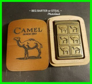 Unique Vintage Solid Brass 6 Camel Zippo Lighter With Wooden Case Very Scarce