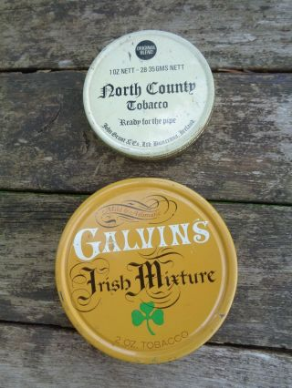 2 Vintage Pipe Tobacco Tins Galvin's Irish Mixture North Country Advertising