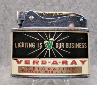 Vintage Verd - A - Ray Corporation Toledo Ohio Flat Advertising Lighter Lqqk Htf