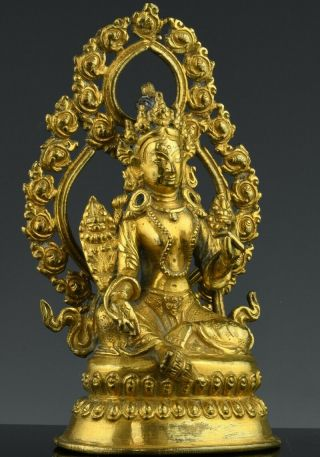 Fine Antique Chinese Ormolu Gold Gilt Bronze Buddha Figure Ming Qing Dynasty